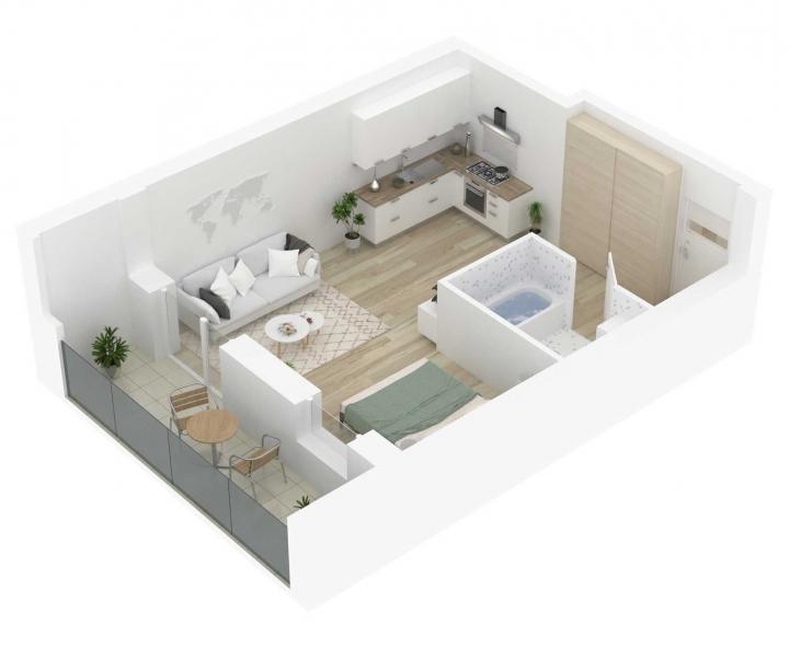 Naujos statybos 1 kambario butai Vilniuje, Šnipiškėse | Butas: 107 | www.k17.lt