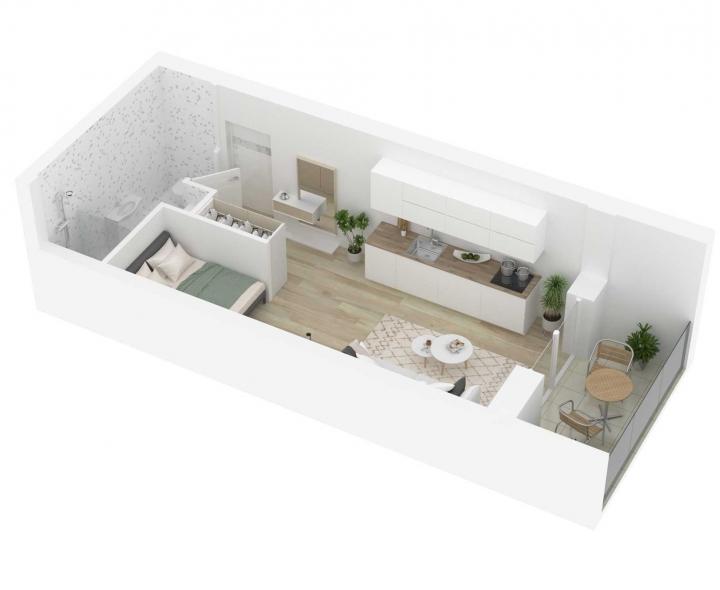 Kokybiški, funkcionaliai suprojektuoti, A energetinės klasės 1 kambario butai. Naujos statybos 1 kambario butai Vilniuje, Šnipiškėse, Kernavės gatvėje. Butas: 57 | www.k17.lt