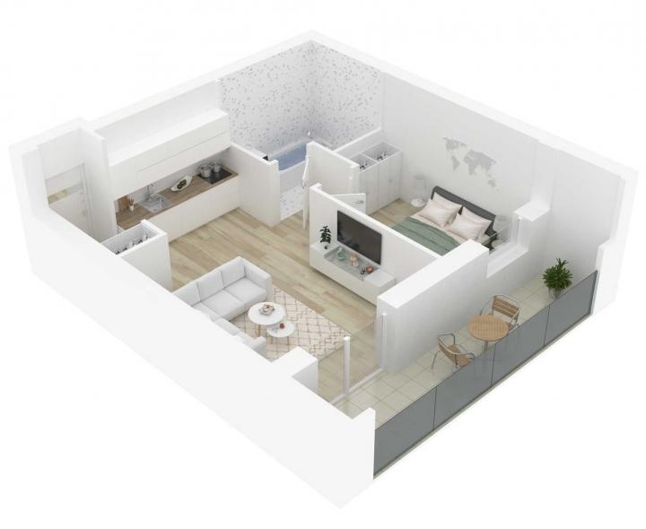 Nauji 2 kambarių butai Vilniuje, Šnipiškėse šalia Žalgirio, Geležinio Vilko ir Kalvarijų gatvių. Butas: 100 | www.k17.lt