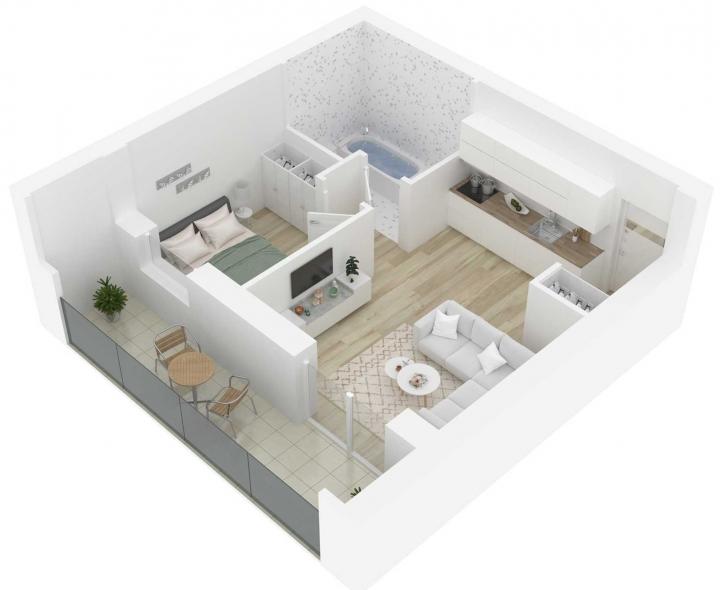Nauji 2 kambarių butai Vilniuje, Šnipiškėse šalia Žalgirio, Geležinio Vilko ir Kalvarijų gatvių. Butas: 116.