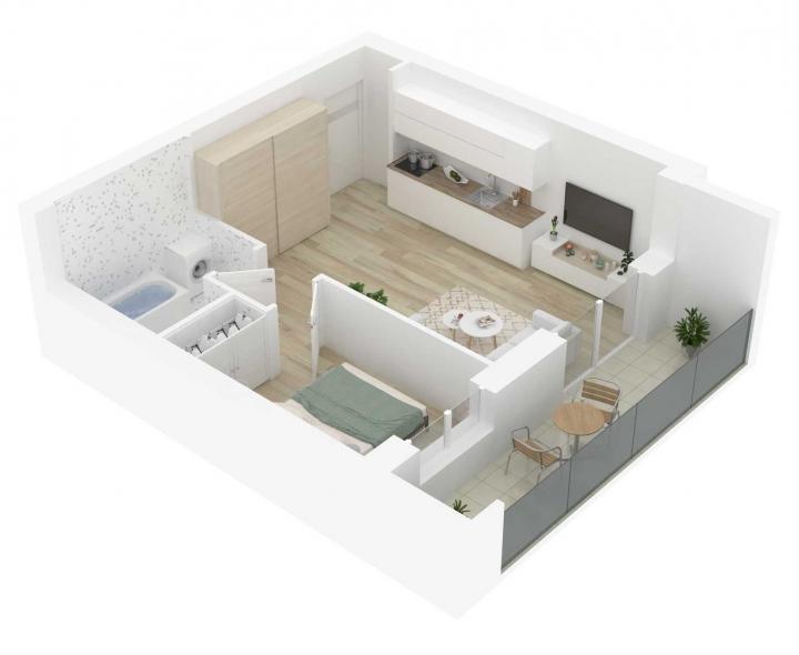 Nauji 2 kambarių butai Vilniuje, Šnipiškėse šalia Žalgirio, Geležinio Vilko ir Kalvarijų gatvių. 2 kambarių butai su daline apdaila. Butas: 135 | www.k17.lt
