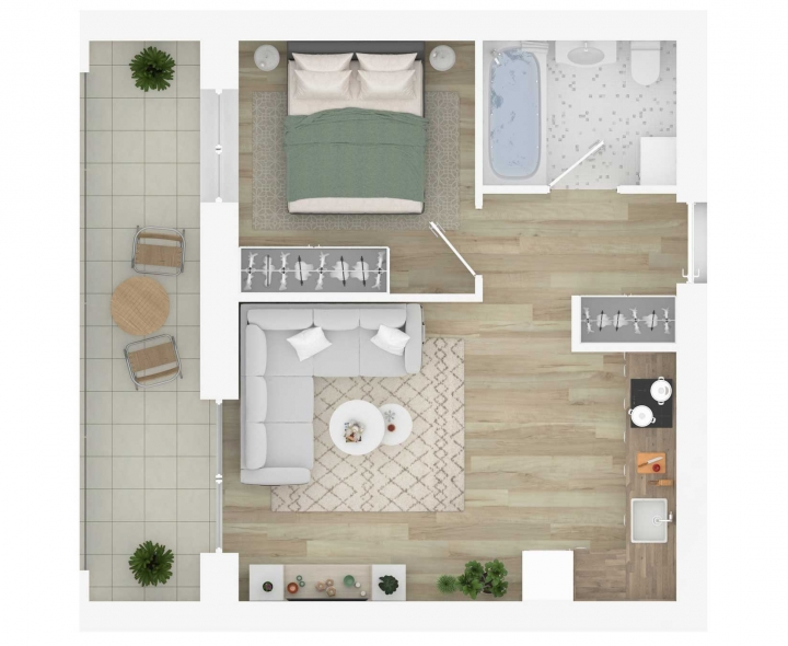 Nauji 2 kambarių butai Vilniuje, Šnipiškėse šalia Žalgirio, Geležinio Vilko ir Kalvarijų gatvių. Butas: 137 | www.k17.lt