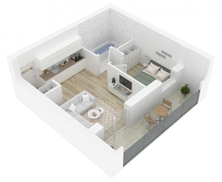 Nauji 2 kambarių butai Vilniuje, Šnipiškėse šalia Žalgirio, Geležinio Vilko ir Kalvarijų gatvių. 2 kambarių butai su daline apdaila. Butas: 148 | www.k17.lt