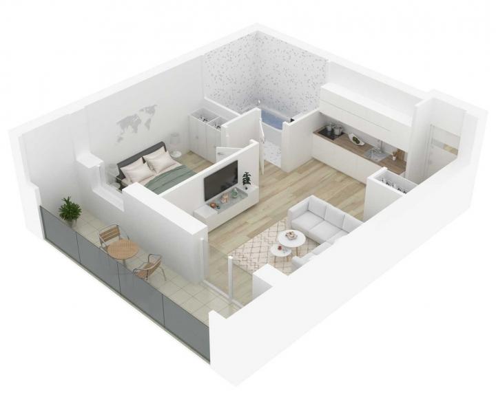 Nauji 2 kambarių butai Vilniuje, Šnipiškėse šalia Žalgirio, Geležinio Vilko ir Kalvarijų gatvių. 2 kambarių butai su daline apdaila. Butas: 167 | www.k17.lt