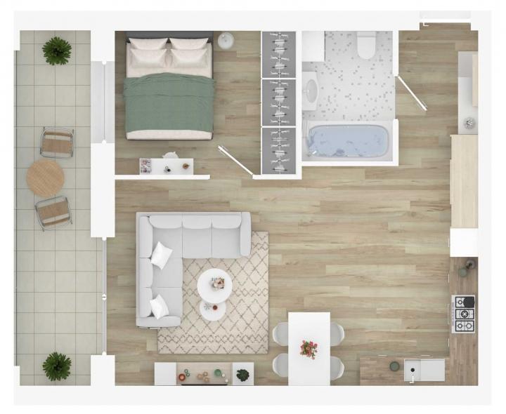 K17 – naujos statybos 2 kambarių butas Vilniuje, Šnipiškėse. 2 kambarių butai su daline apdaila. Funkcionaliai suprojektuoti, A energetinės klasės 2 kambarių butai Vilniuje. Butas: 206 | www.k17.lt