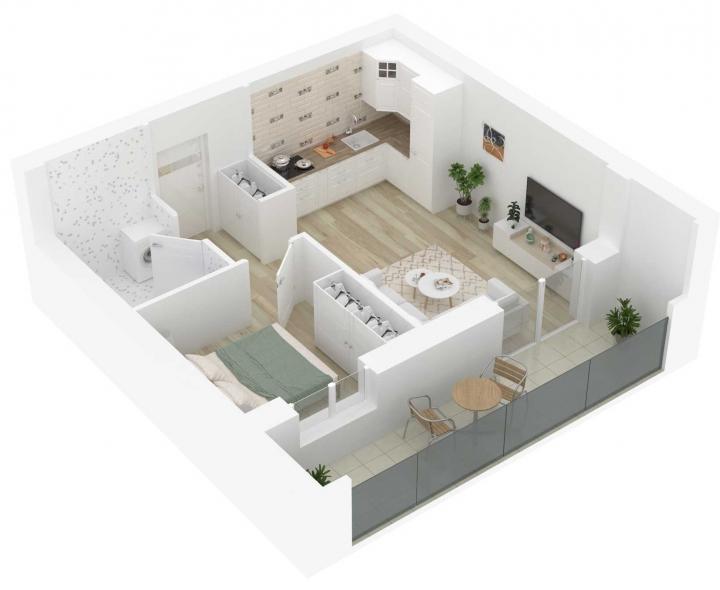 K17 – naujos statybos 2 kambarių butas Vilniuje, Šnipiškėse.