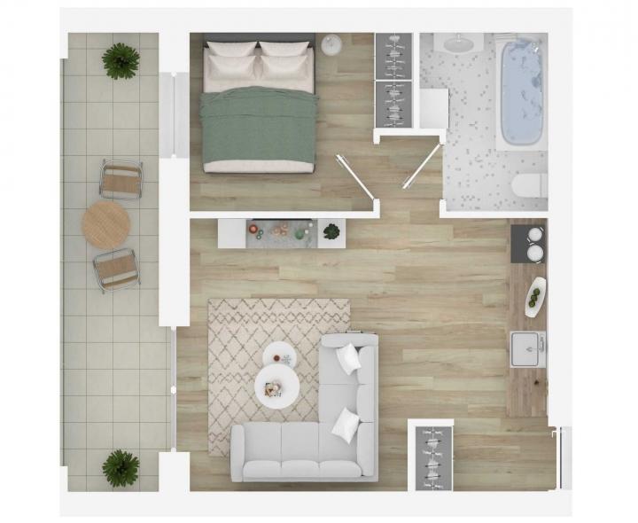 K17 – naujos statybos 2 kambarių butas Vilniuje, Šnipiškėse. Nauji 2 kambarių butai Vilniuje, Šnipiškėse šalia Žalgirio, Geležinio Vilko ir Kalvarijų gatvių.