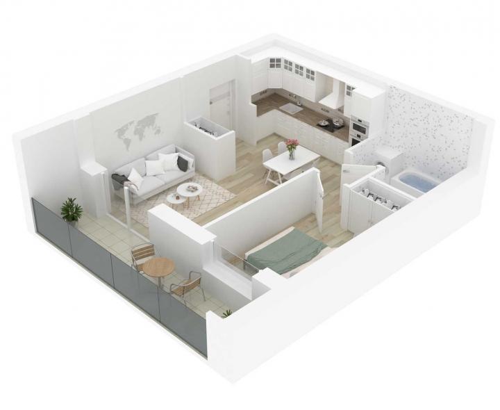 2 kambarių butai su daline apdaila. Kokybiški, funkcionaliai suprojektuoti, A energetinės klasės 2 kambarių butai Vilniuje. Butas: 73 | www.k17.lt