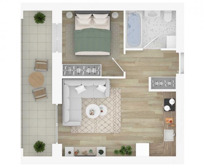 Nauji 2 kambarių butai Vilniuje, Šnipiškėse šalia Žalgirio, Geležinio Vilko ir Kalvarijų gatvių.  Butas: 97 | www.k17.lt