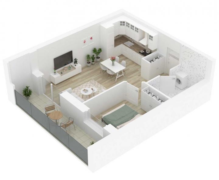 K17 – naujos statybos 2 kambarių butas Vilniuje, Šnipiškėse. A energetinės klasės 2 kambarių butai Vilniuje. Butas: 9 | www.k17.lt