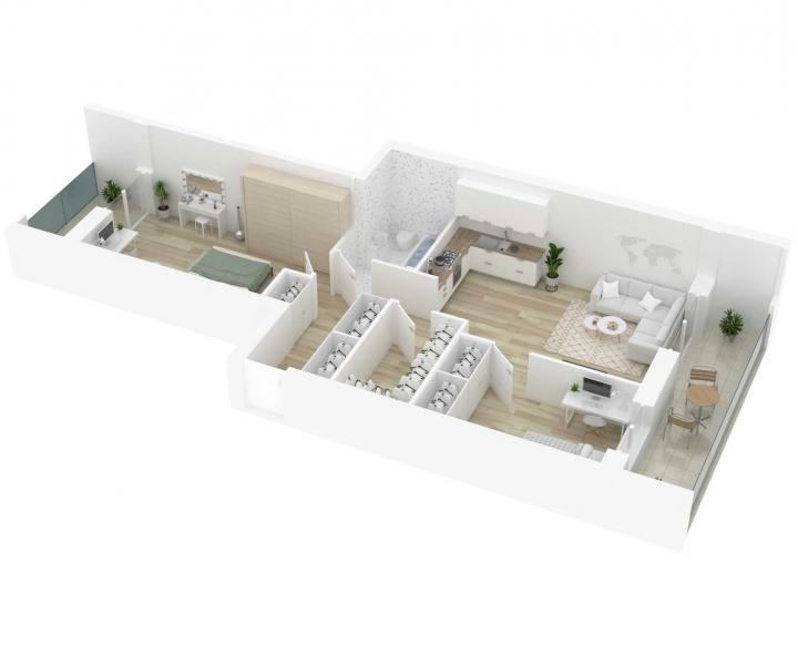 3 kambarių butai su daline apdaila - Vilnius, Šnipiškės. Nauji 3 kambarių butai Vilniuje, Šnipiškėse šalia Žalgirio, Geležinio Vilko ir Kalvarijų gatvių. Butas: 122 | www.k17.lt