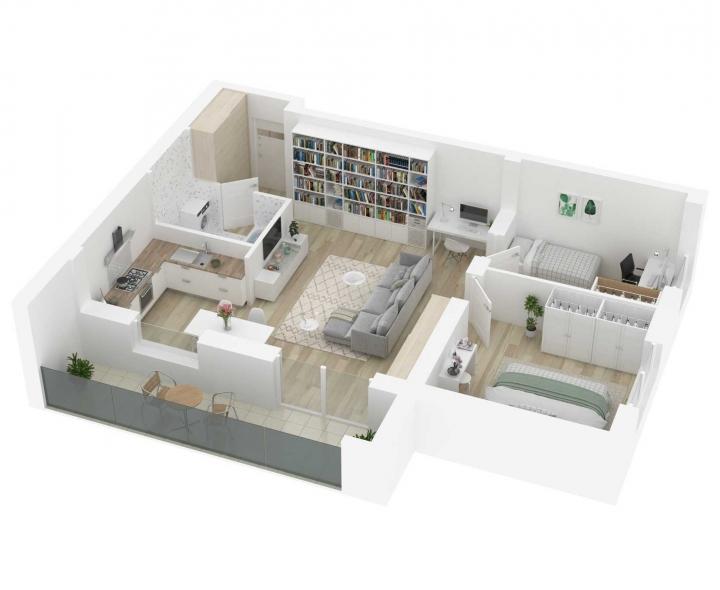 Naujos statybos 3 kambarių butai Vilniuje, Šnipiškėse, Kernavės gatvėje. Butas: 194 | www.k17.lt