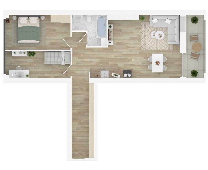 3 kambarių butai parduodami su daline apdaila - Vilnius, Šnipiškės.  Butas: 39 | www.k17.lt