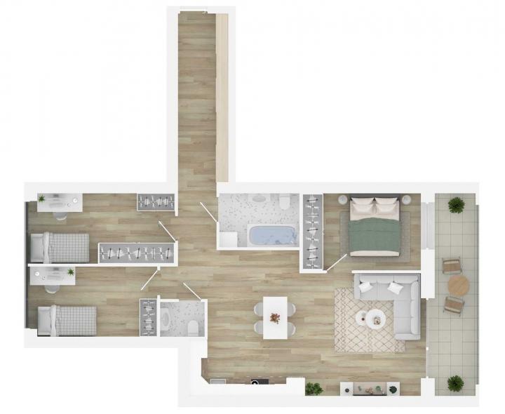 K17 – kokybiški, funkcionaliai suprojektuoti, A energetinės klasės 4 kambarių butai Vilniuje, Šnipiškėse. 4 kambarių butai su daline apdaila. Butas: 168 | www.k17.lt