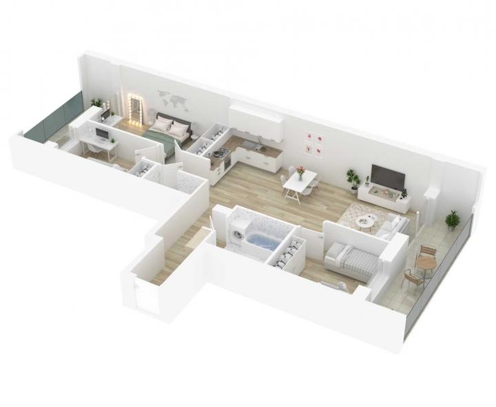 Nauji 4 kambarių butai Vilniuje, Šnipiškėse šalia Žalgirio, Geležinio Vilko ir Kalvarijų gatvių. 4 kambarių butai su daline apdaila. Butas: 102 | www.k17.lt