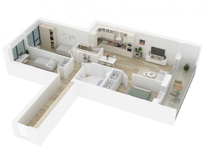 K17 – naujos statybos 4 kambarių butas Vilniuje, Šnipiškėse. A energetinės klasės 4 kambarių butai Vilniuje.