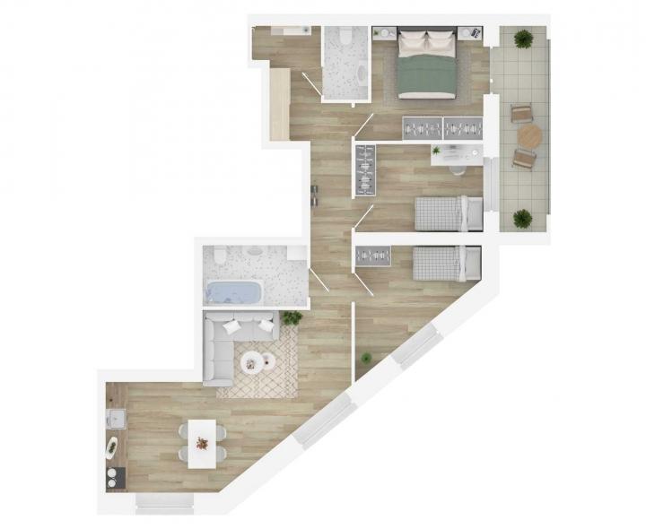 Nauji 4 kambarių butai Vilniuje, Šnipiškėse šalia Žalgirio, Geležinio Vilko ir Kalvarijų gatvių. 4 kambarių butai parduodami su daline apdaila, todėl patys itin lengvai galėsite susiplanuoti naujųjų namų erdves. Butas: 34 | www.k17.lt