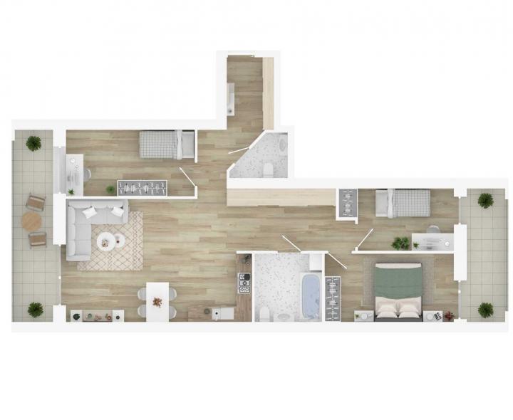 K17 – naujos statybos 4 kambarių butas Vilniuje, Šnipiškėse. Kokybiški, funkcionaliai suprojektuoti, A energetinės klasės 4 kambarių butai. 4 kambarių butai su daline apdaila. Butas: 60 | www.k17.lt