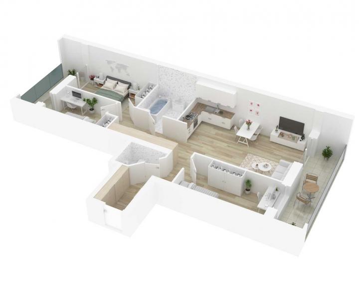 Kokybiški, funkcionaliai suprojektuoti, A energetinės klasės 4 kambarių butai. Naujos statybos 4 kambarių butai Vilniuje, Šnipiškėse, Kernavės gatvėje. Butas: 70 | www.k17.lt