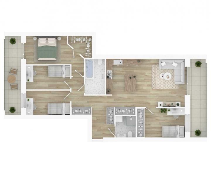 K17 – naujos statybos 5 kambarių butai Vilniuje, Šnipiškėse, Kernavės gatvėje. Kokybiški, funkcionaliai suprojektuoti, A energetinės klasės 5 kambarių butai Vilniuje, Šnipiškėse. 5 kambarių butai su daline apdaila. Butas: 130 | www.k17.lt