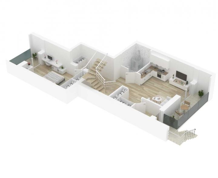 Nauji 5 kambarių butai Vilniuje, Šnipiškėse šalia Žalgirio, Geležinio Vilko ir Kalvarijų gatvių. 5 kambarių butai su daline apdaila. Butas: 146   www.k17.lt